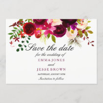 Burgundy Red Floral Wedding Save The Date Card