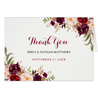 Burgundy Red Floral Wedding Thank You Card