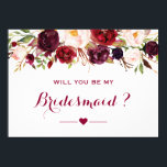 "Burgundy Red Floral Will You Be My Bridesmaid Card<br><div class=""desc"">Personalized Will You Be My Bridesmaid Card 