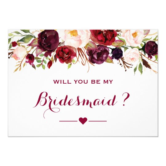 burgundy red floral will you be my bridesmaid invitation zazzle com