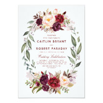Burgundy Red Floral Wreath Elegant Rustic Wedding Invitation