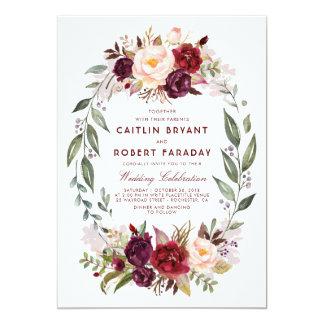 Burgundy Red Floral Wreath Elegant Rustic Wedding Invitation