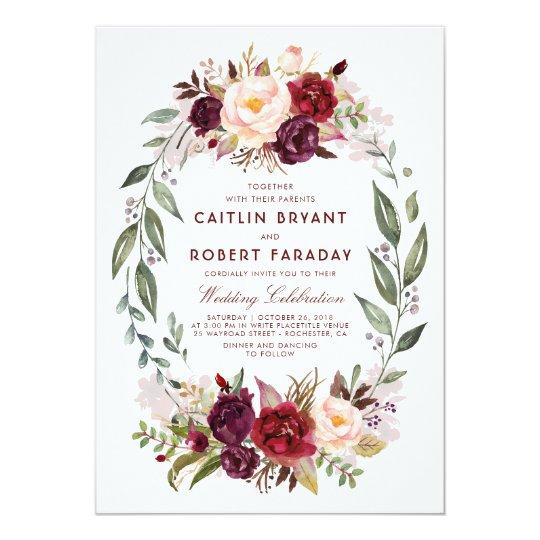 26 Rustic Wedding Ideas That Still Feel Elevated: Burgundy Red Floral Wreath Elegant Rustic Wedding