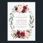 """Burgundy Red Floral Wreath Graduation Party Card<br><div class=""""desc"""">Marsala red watercolor flowers wreath graduation party invitations</div>"""
