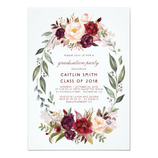 Burgundy Red Floral Wreath Graduation Party Card