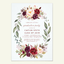 Burgundy Red Floral Wreath Graduation Party Invitation