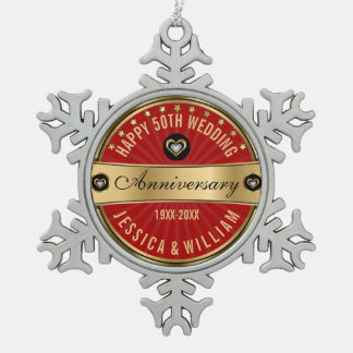 Burgundy Red & Gold 50th Wedding Anniversary Snowflake Pewter Christmas Ornament