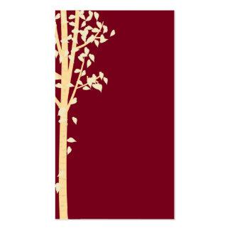 Burgundy Red Gold Aspen Birch Tree Business Cards