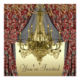 Burgundy Red Gold Chandelier Party Invitations