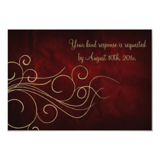 Burgundy Red Gold Elegant Wedding RSVP Card