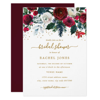 Burgundy Red Gold Floral Christmas Bridal Shower Invitation