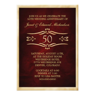 Burgundy Red Golden Anniversary Celebration Custom Invite