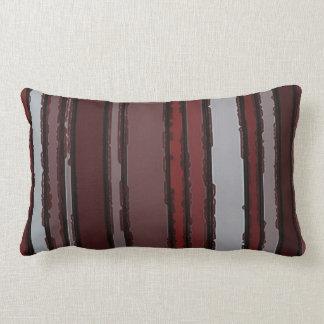 Burgundy Red Gray Mauve Taupe Stripes Pattern Lumbar Pillow