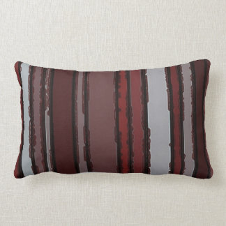 Burgundy Red Gray Mauve Taupe Stripes Pattern Throw Pillow