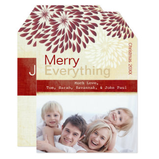Burgundy Red Ivory Merry Everything Photo Card