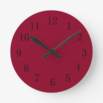 Burgundy Red Kitchen Wall Clock by Red_Clocks at Zazzle