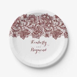 Burgundy Red Lace Elegant Wedding Paper Plate