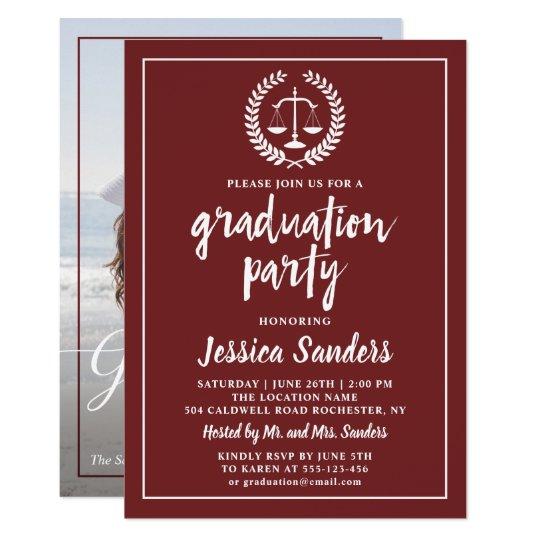 Burgundy Red Law School Graduation Party Photo Invitation Zazzle Com