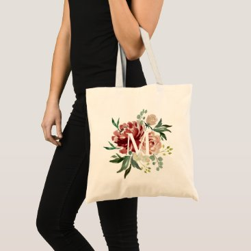 Bride Themed Burgundy Red Maroon Watercolor Floral Monogram Tote Bag