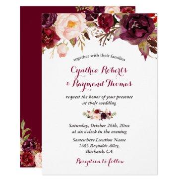 CardHunter Burgundy Red Marsala Floral Chic Fall Wedding Card