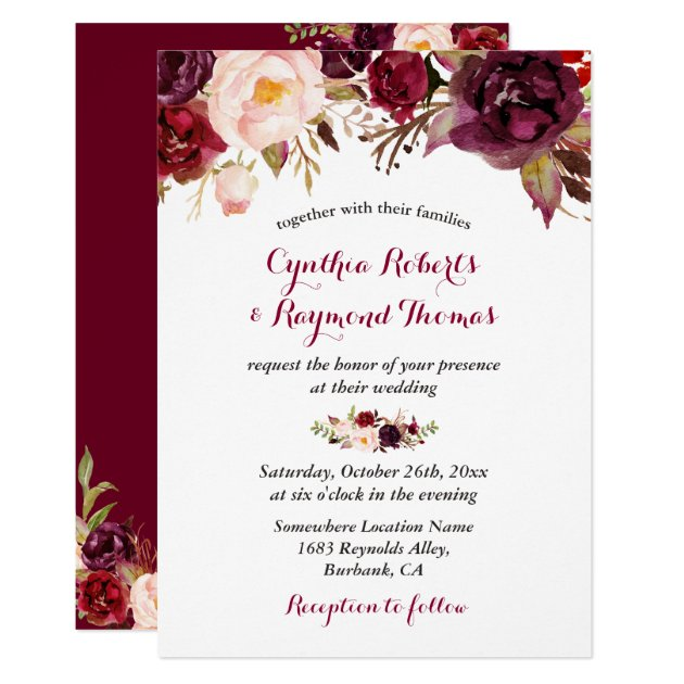 Burgundy Red Marsala Floral Chic Fall Wedding Card