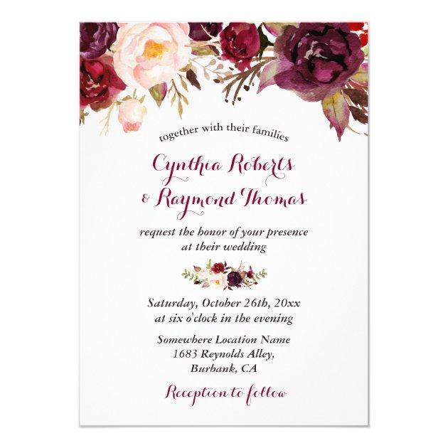 Burgundy Red Marsala Floral Chic Fall Wedding Card (back side)