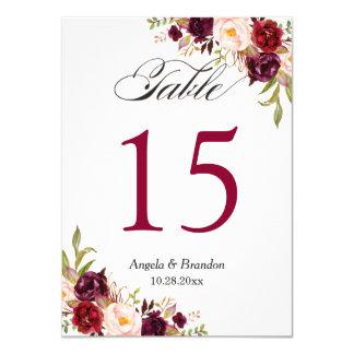 Burgundy Red Marsala Floral Wedding Table Number
