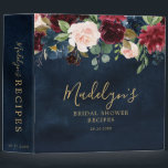 "Burgundy Red Navy Blue Floral Bridal Shower Recipe 3 Ring Binder<br><div class=""desc"">Watercolor Burgundy Red Navy Blue Floral Rustic Boho Bridal Shower Recipe binder. Perfect for bride to be to collect recipes and organize them nicely. The design features a stunning bouquet of burgundy / Marsala , peach , navy flowers / roses with matching leaves. Please find more matching designs and variations...</div>"