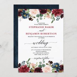 Burgundy Blush Navy Blue Floral Botanical Wedding Invitation