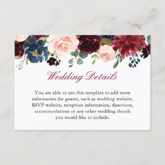 Burgundy Red Navy Blue Floral Wedding Details Info Enclosure Card