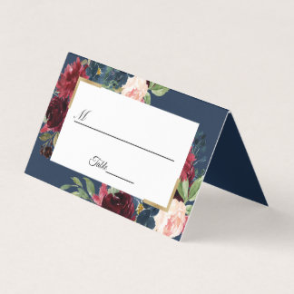 Burgundy Red Navy Blue Floral Wedding Table Place Card