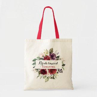 Burgundy Red Navy Floral Boho Bridesmaid gift Tote Bag