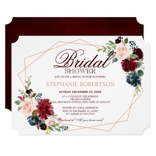 6e12942fadcf Burgundy Red Navy Floral Geometric Bridal Shower Invitation