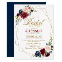 Burgundy Red Navy Floral Geometric Bridal Shower Invitation