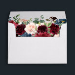 """Burgundy Red Navy Floral Return Address Envelope<br><div class=""""desc"""">Watercolor Burgundy Red Navy Floral Rustic Boho Wedding Return address envelope. Perfect for a fall wedding. The design features a stunning bouquet of burgundy / Marsala , peach , navy flowers / roses with matching leaves. Please find more matching designs and variations in my &quot;blissweddingpaperie&quot; store. And feel free to...</div>"""