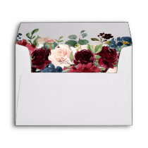 Burgundy Red Navy Floral Return Address Envelope