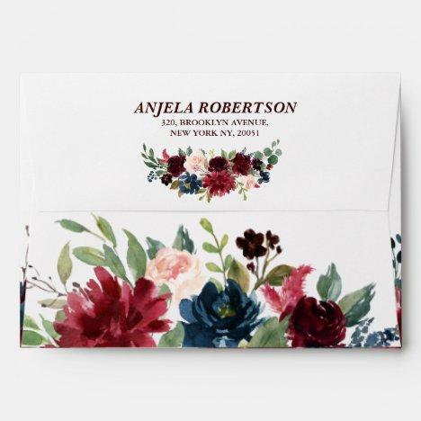 Burgundy Red Navy Floral Return Address Envelope