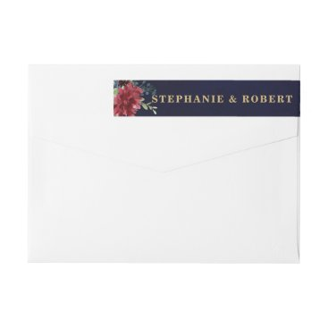 Wedding Themed Burgundy Red Navy Floral Rustic Boho Address Label