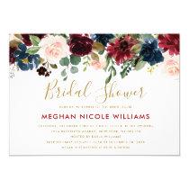 Burgundy Red Navy Floral Rustic Boho Bridal Shower Invitation