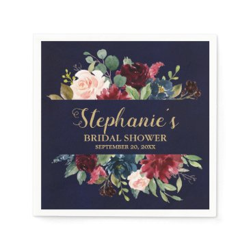 Wedding Themed Burgundy Red Navy Floral Rustic Boho Bridal Shower Paper Napkin