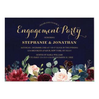 Burgundy Red Navy Floral Rustic Boho Engagement Card