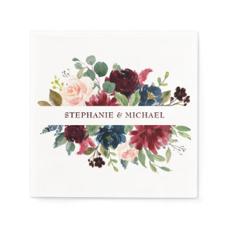 Burgundy Red Navy Floral Rustic Boho Paper Napkin