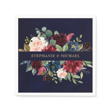 Wedding Themed Burgundy Red Navy Floral Rustic Boho Paper Napkin