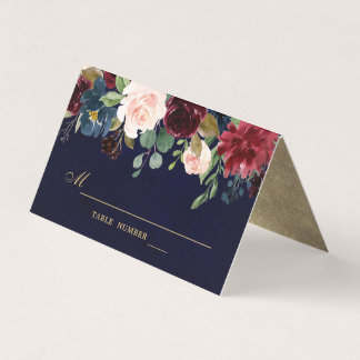 Burgundy Red Navy Floral Rustic Boho Place Card