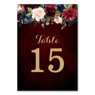 Burgundy Red Navy Floral Rustic Boho Table Number