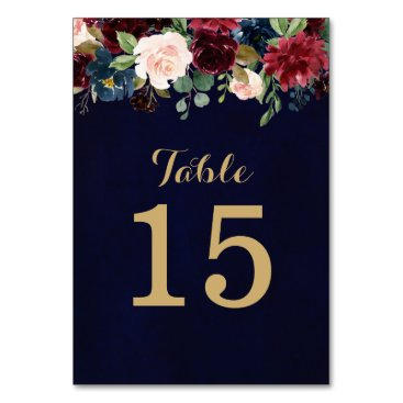 Wedding Themed Burgundy Red Navy Floral Rustic Boho Table Number