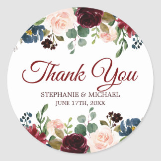 Burgundy Red Navy Floral Rustic Boho Thank You Classic Round Sticker