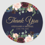 "Burgundy Red Navy Floral Rustic Boho Thank You Classic Round Sticker<br><div class=""desc"">Watercolor Burgundy Red Navy Floral Rustic Boho Wedding Thank you sticker. Perfect for a fall wedding. The design features a stunning bouquet of burgundy / Marsala , peach , navy flowers / roses with matching leaves. Please find more matching designs and variations in my ""blissweddingpaperie"" store. And feel free to...</div>"