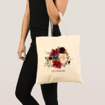 """Burgundy Red Navy Floral Rustic Boho Tote bag<br><div class=""""desc"""">Watercolor Burgundy Red Navy Floral Rustic Boho Wedding tote bag. Perfect for a fall wedding. The design features a stunning bouquet of burgundy / Marsala , peach , navy flowers with matching leaves. Please find more matching designs and variations in my &quot;blissweddingpaperie&quot; store. And feel free to contact me for...</div>"""
