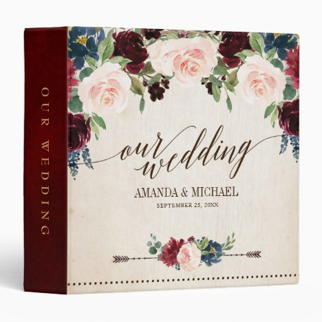 Burgundy Red Navy Floral Rustic Boho Wedding Album 3 Ring Binder